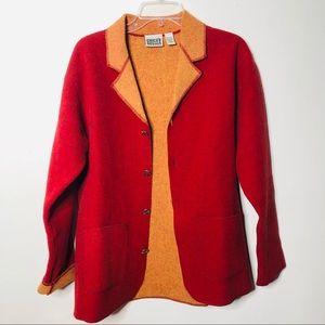 Chico's Design Wool blazer burned orange 0/M